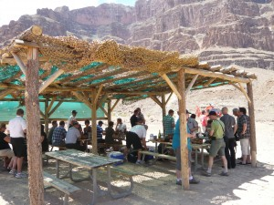 Having lunch in the Grand Canyon